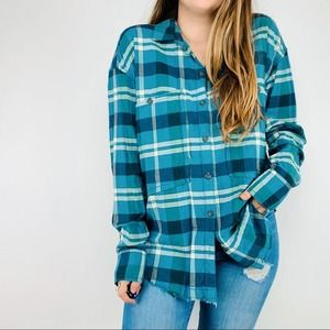 Free People blue plaid oversized flannel top